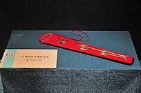 红绸地绣竹蝶纹扇套