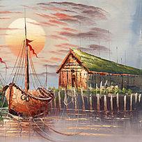 码头风景油画 港口