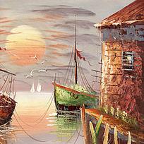 欧式风格海景油画