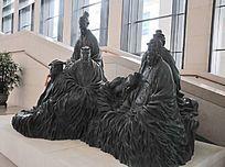 中国历史六老石雕像