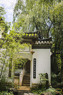 翠绿的垂柳和古建筑大门