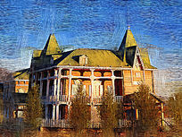 电脑油画《欧式建筑》