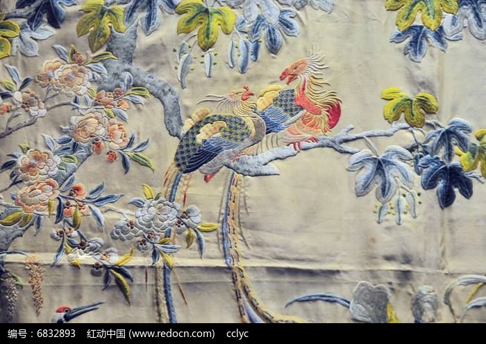 凤求凰刺绣图片,高清大图 传统工艺素材 编号6832893图片