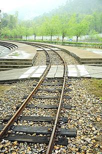 旧时木头火车轨道