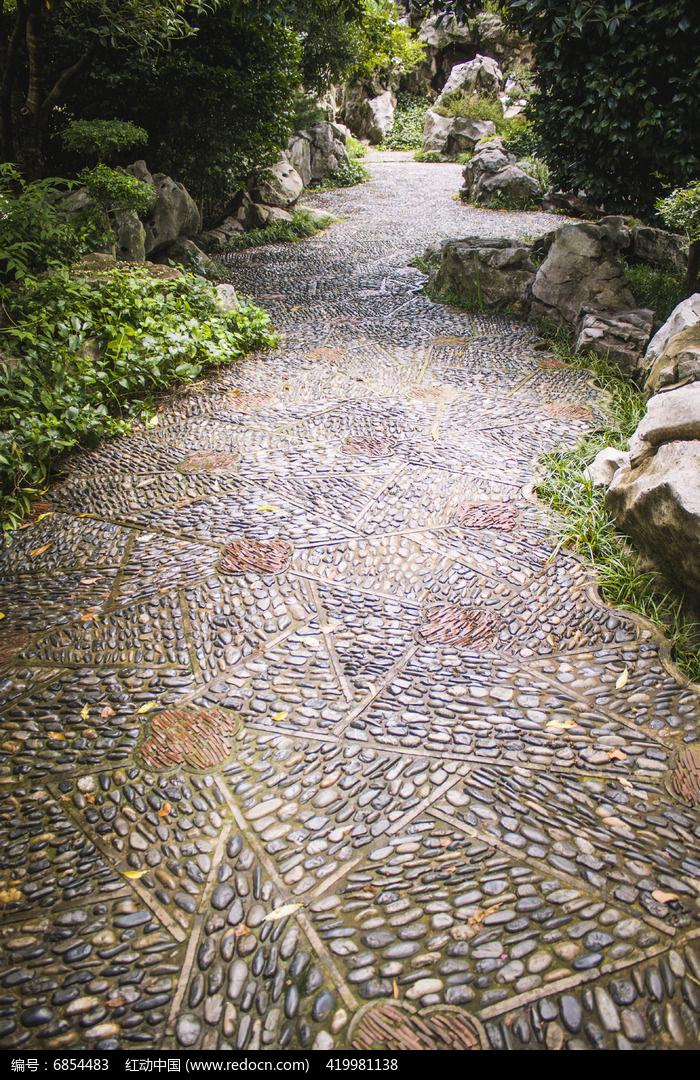 石子花纹小路图片,高清大图_道路交通素材