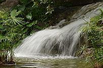 小草青青与飞流而下的瀑布风景图片