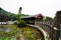 湖泊上的景观桥