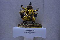 清代藏族忿怒文殊鎏金铜像