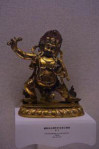 清代藏族执金刚杵护法鎏金铜像