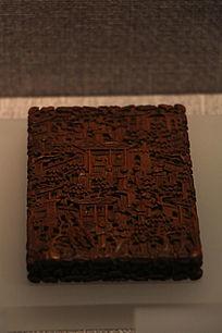 清中期檀香木雕人物名片盒