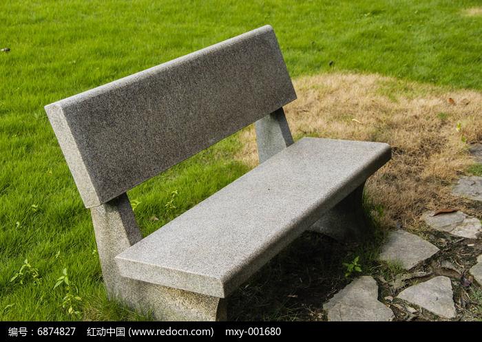 草地青石板椅高清图片下载 编号
