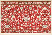 红底花卉装饰图案