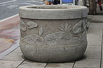 雕刻荷花图案花坛
