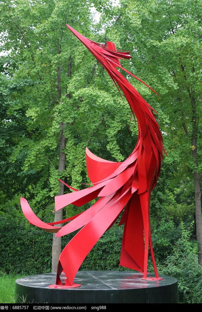 钢板造型凤凰来仪雕像图片