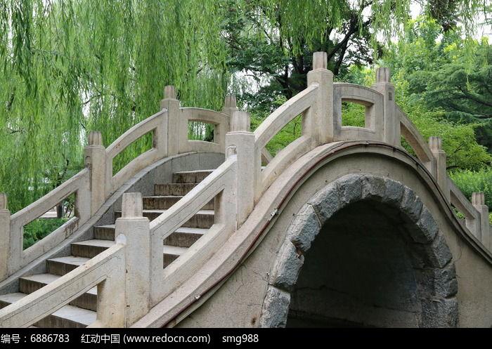 柳树下的石拱桥高清图片下载 编号6886783 红动网