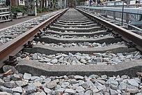 平行对称铁路轨道素材