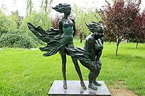 铜雕风吹起少女的裙子