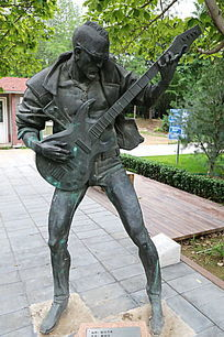 铜雕西部牛仔吉他乐手雕像