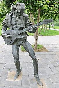 铜雕摇滚吉他乐手雕像