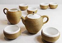 传统竹编白瓷茶壶