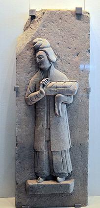石雕托盘(食物)侍女石刻