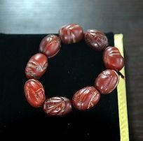 红玉石刻纹手串