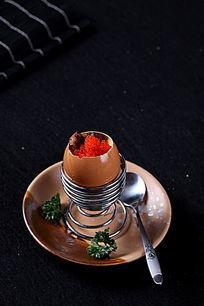 鹅肝蟹子蒸蛋上视图