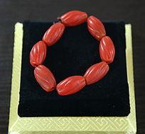 红玉石花纹手串
