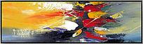 客厅横幅抽象油画 背景墙壁画