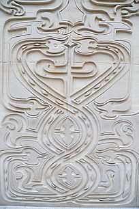 石雕鸟纹背景墙