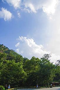 千山财神庙树木与蓝天白云
