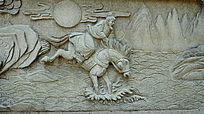 历史人物石雕壁画