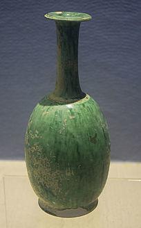 绿釉长颈瓶文物古董
