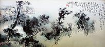 松树山水国画