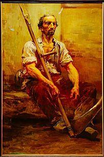 西欧农民油画图片