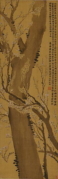 清 金农《梅树图轴》古代名画