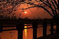 江上日落风景