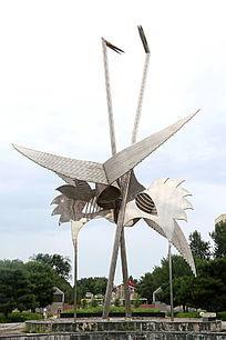 不锈钢雕塑巨型仙鹤