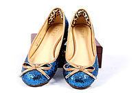 蓝色女式牛皮鞋
