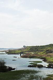 露天矿生态园区废墟风光