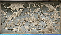牡丹花鸟图案雕刻