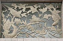 牡丹喜鹊图案的雕刻