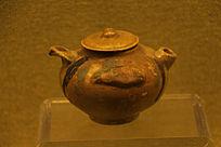 唐代长沙窑青釉褐绿斑壶