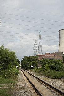 工业城市风光之火力发电厂与运输铁路
