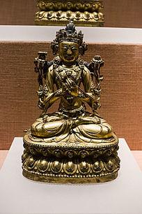 宣德铜镀金文殊菩萨像