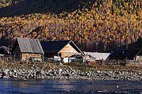 禾木河边的小木屋