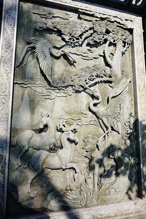 吉祥动物石雕画