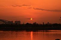 日落江河黄昏景色图片