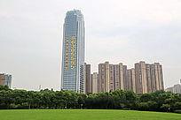园林和现代高层摩天大楼