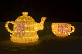 茶壶茶杯灯光图片